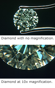 Diamond with/without magnification